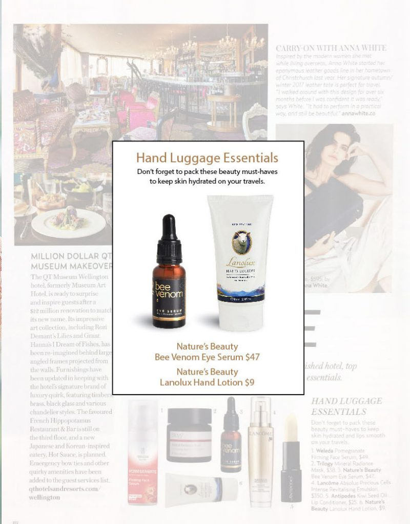 natures beauty bee venom eye serum and lanolux in simply you magazine