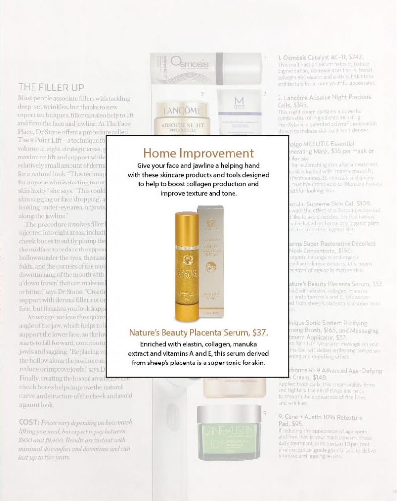 natures beauty ovine placenta gold serum in simply you magazine