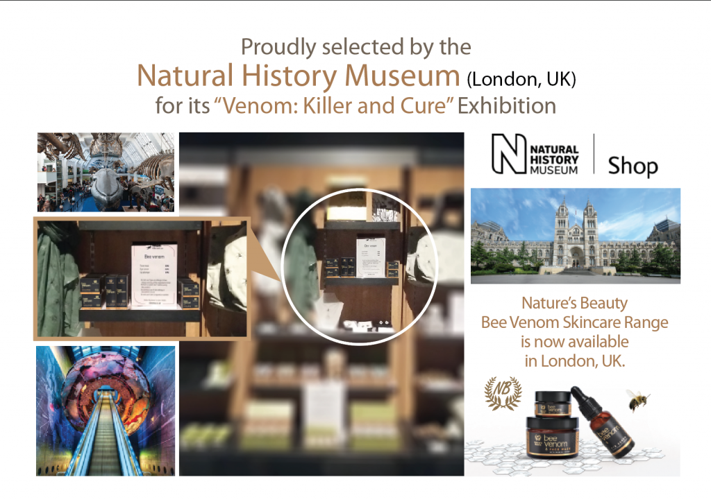 natures beauty bee venom range in london natural history museum